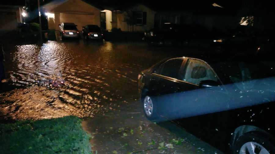 Some streets in Marysville flooded Sunday right up to the homes.
