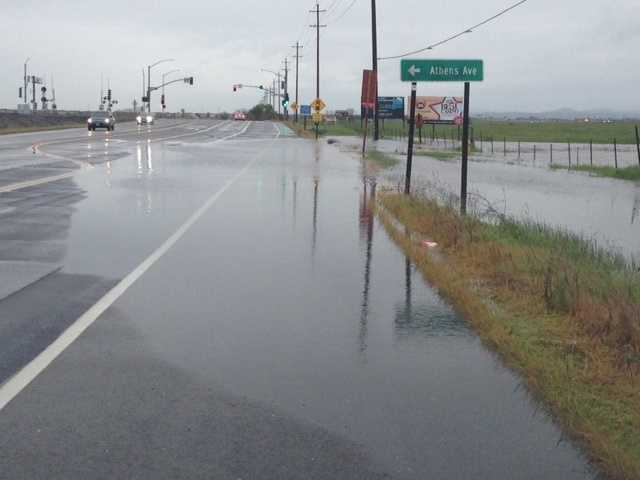 Rain water pilled up near Roseville and Lincoln, causing a portion of the road to become flooded.