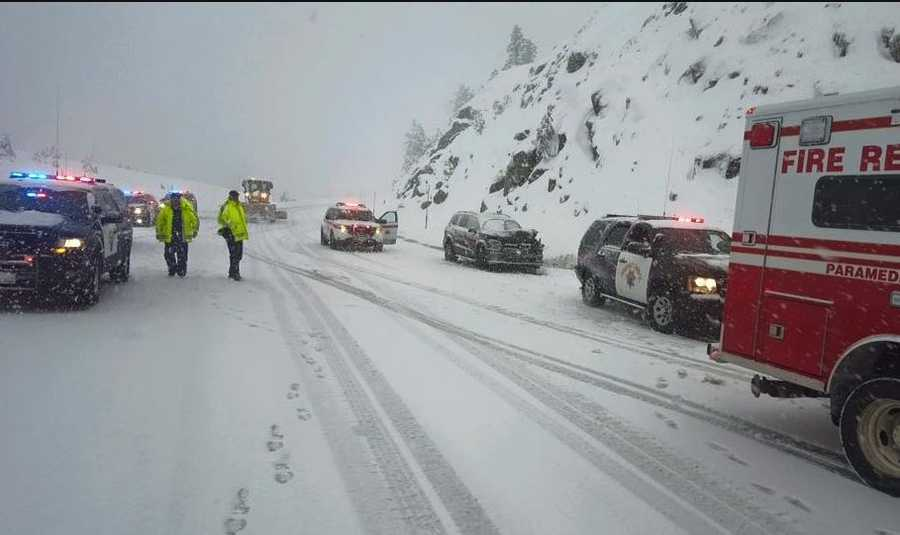 A California Highway Patrol officer was injured Sunday when a patrol vehicle was rear-ended on Interstate 80 near Truckee, officers said.