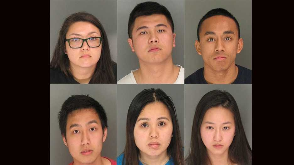 Mariah Dremel (top left), Benny Liu (top center), Cesar Casil (top right), Nathan Tieu (bottom left), Hoai Nguyen (bottom center) and Cecilie Le (bottom right), all 21, were arrested on charges of possession of controlled substance for sale, authorities said.