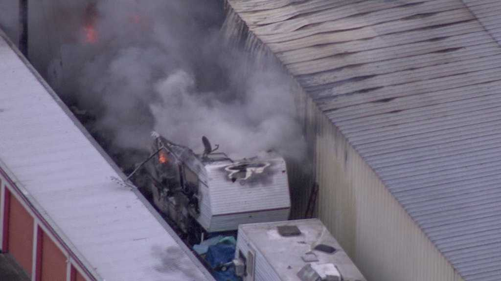 Aerial photo shows commercial structure fire in south Sacramento on Tuesday, March 8, 2016.
