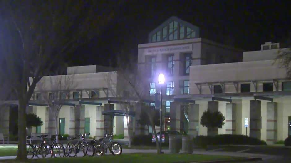 UC Davis campus at night.