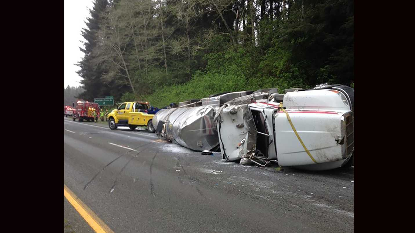 A truck carrying thousands of gallons of milk ended up on its side, spilling 3,000 gallons of milk.