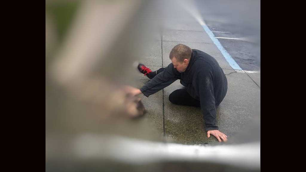Good Samaritan Eric comforts an injured dog that was hit by a car that didn't stop, officers said.