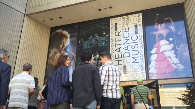 "People line up outside the Sacramento Community Center Theater on Thursday to attend a performance of ""The Book of Mormon."""