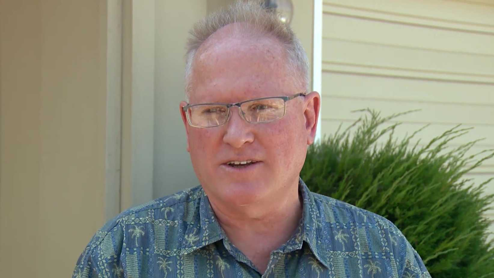 Brian J. Stone, 57, talked to KCRA on Aug. 22, 2015, after his son Spencer Stone helped take down a terror suspect on a train in France. Brian Stone was charged with 13 counts of mail fraud in connection to an arson insurance schemed on Friday, March 18, 2016, said Lauren Horwood, spokesperson for the Eastern District of California U.S. Attorney's Office.