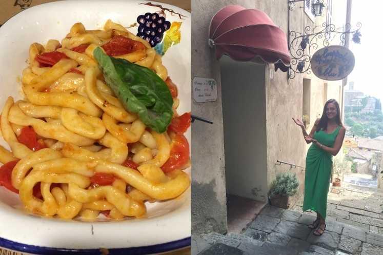 14.) My favorite Italian meal is Pici all'aglione and a glass of Brunello di Montalcino at Il Grappolo Blu in Montalcino.