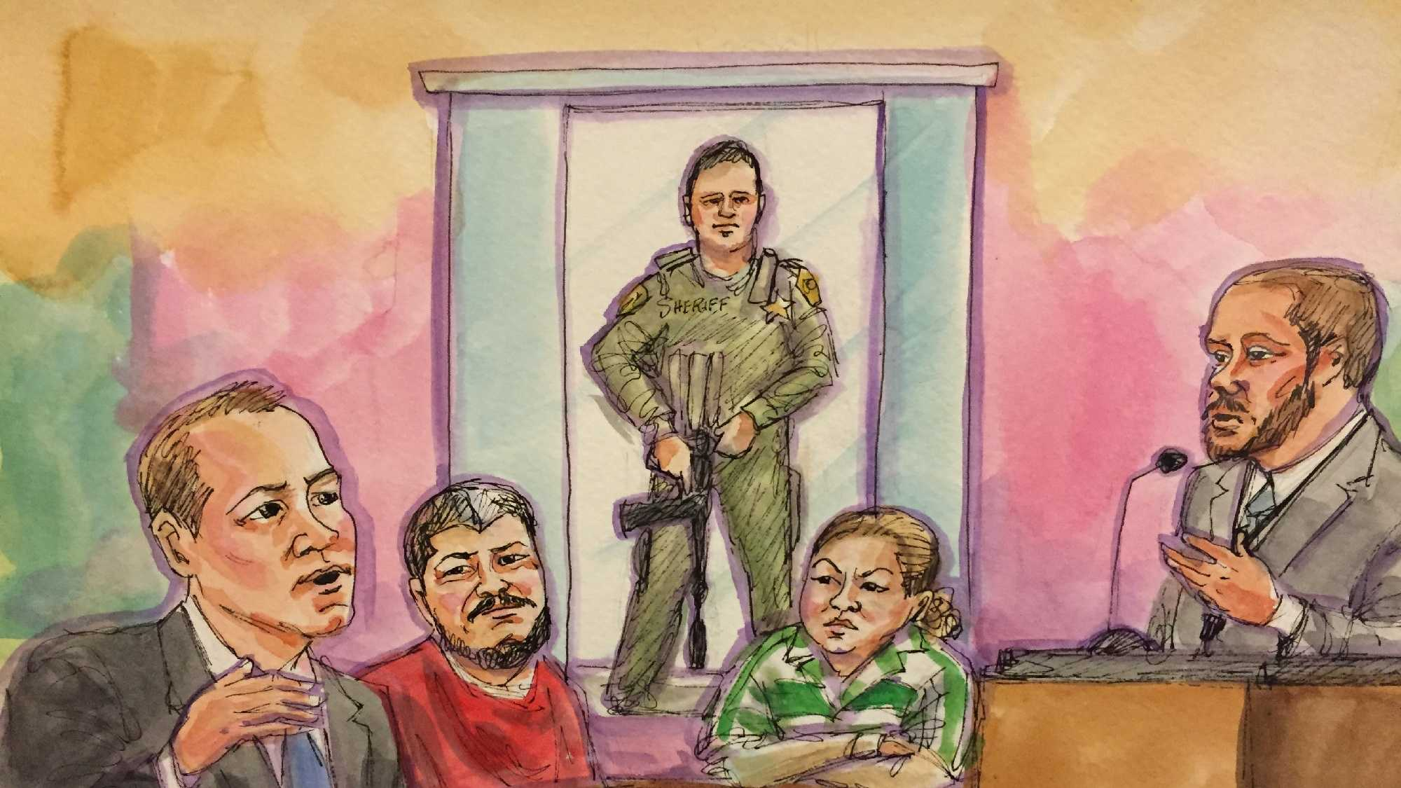 Courtroom drawing shows Luis Bracamontes and Janelle Monroy during the last day of the preliminary hearing on Wednesday, March 30, 2016.