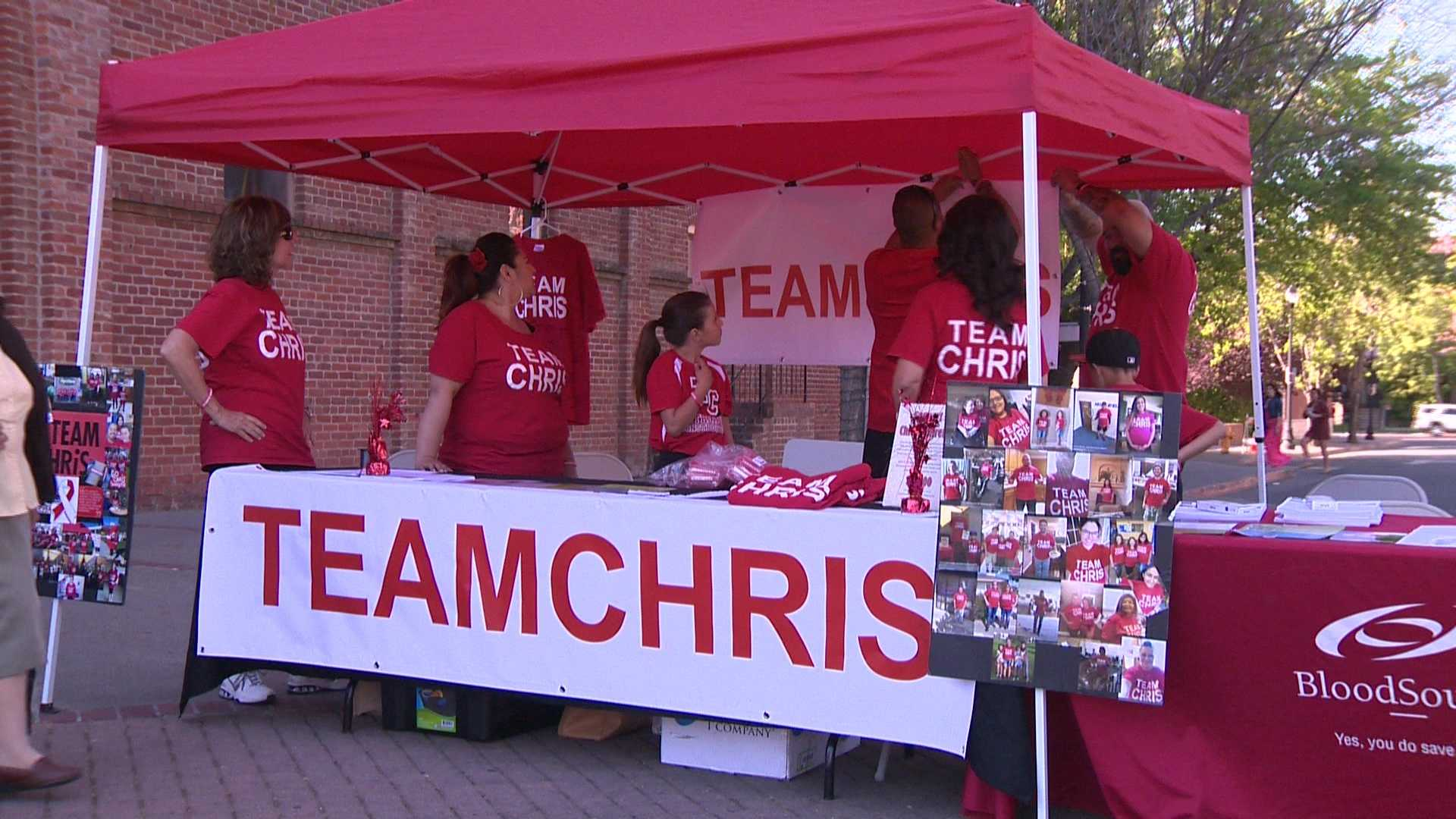 Team Chris raises awareness for bone marrow donation during an event on Thursday, March 31, 2016.