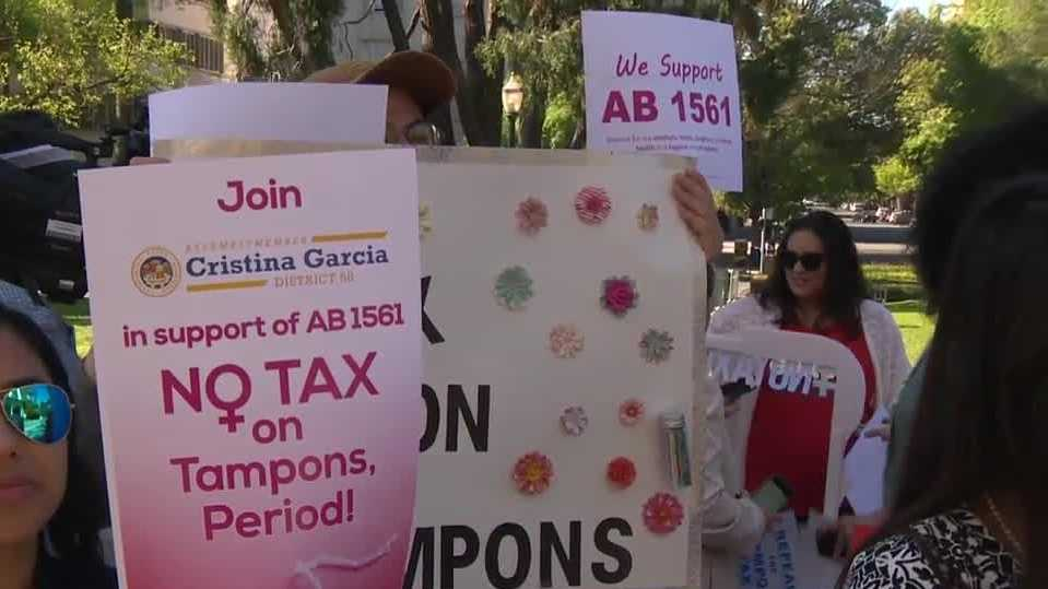 Protesters were at the Capitol on April 4, 2016, to support the Tampon Tax repeal when the bill was being heard by a state assembly committee.