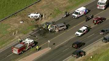 A three-vehicle crash off Southport Parkway near Lake Washington Boulevard claimed the lives of two people and injured two others. (April 11, 2016)