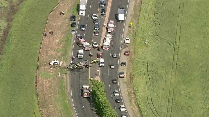 An aerial of the crash off Southport Parkway near Lake Washington Boulevard. (April 11, 2016)