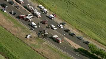 Another aerial view of the fatal crash in West Sacramento. (April 11, 2016)