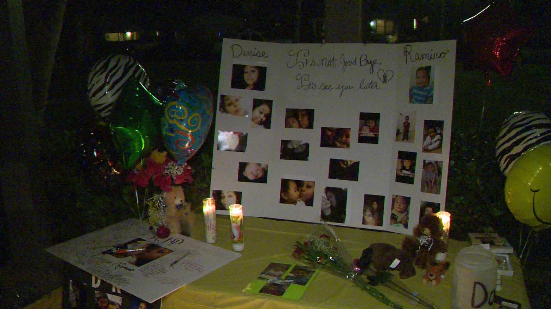 Family and friends remembered 19-year-old Denise Garcia and her 3-year-old son Ramiro at a vigil Tuesday, April 12, 2016.