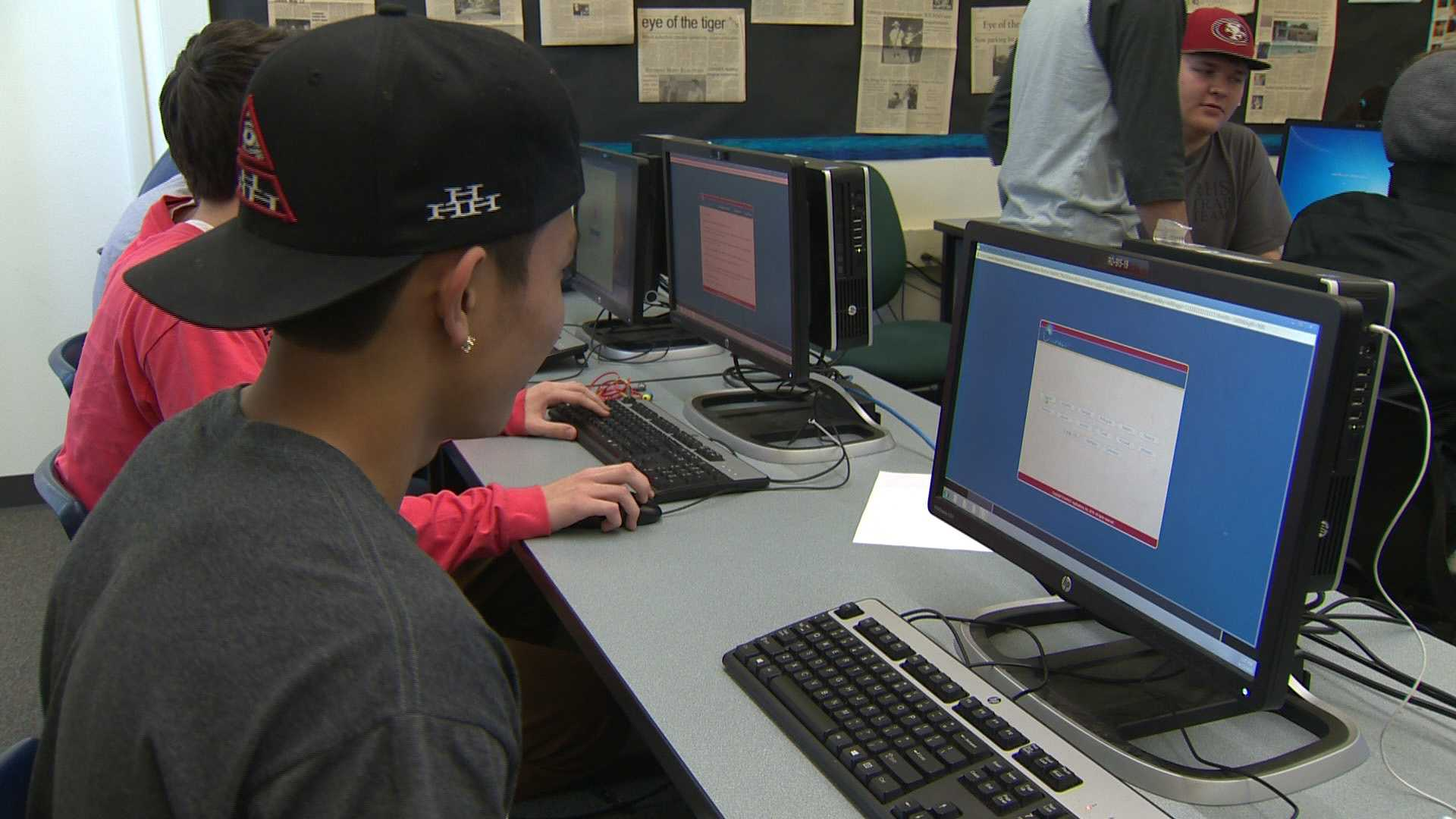 Student at Roseville High School must take a computer test to evaluate their mental abilities before participating in most sports.