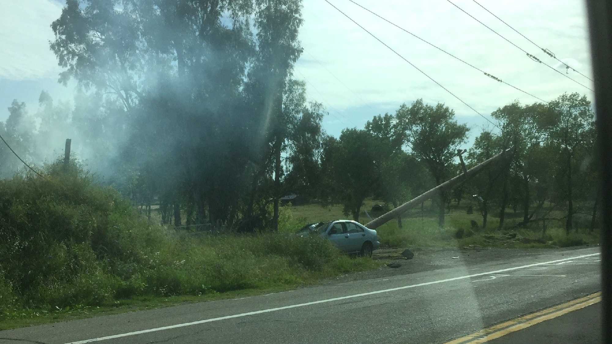 A car crash into a power pole on PFE Road led to a power outage in Citrus Heights on Wednesday, April 13, 2016. Photo shared by KCRA Viewer Greg G. shows the aftermath of the crash.