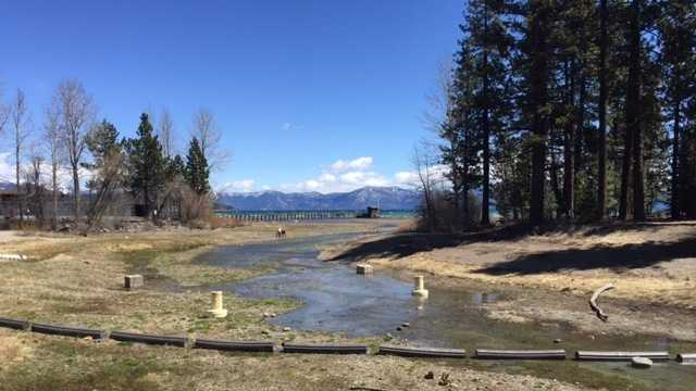 The Truckee River at Tahoe City began flowing again on April 9, 2016.
