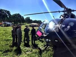 Officers were trained and instructed with military helicopters on the ability to collect and drop water during wildland firefighting efforts and to safely integrate into fireground operations.