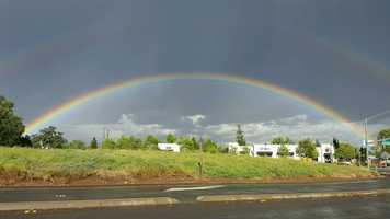 A double rainbow streaked across the sky over the Roseville area on Friday, April 22, 2016, after a storm pass over the region. Check out photos from KCRA viewers of the colorful sight: