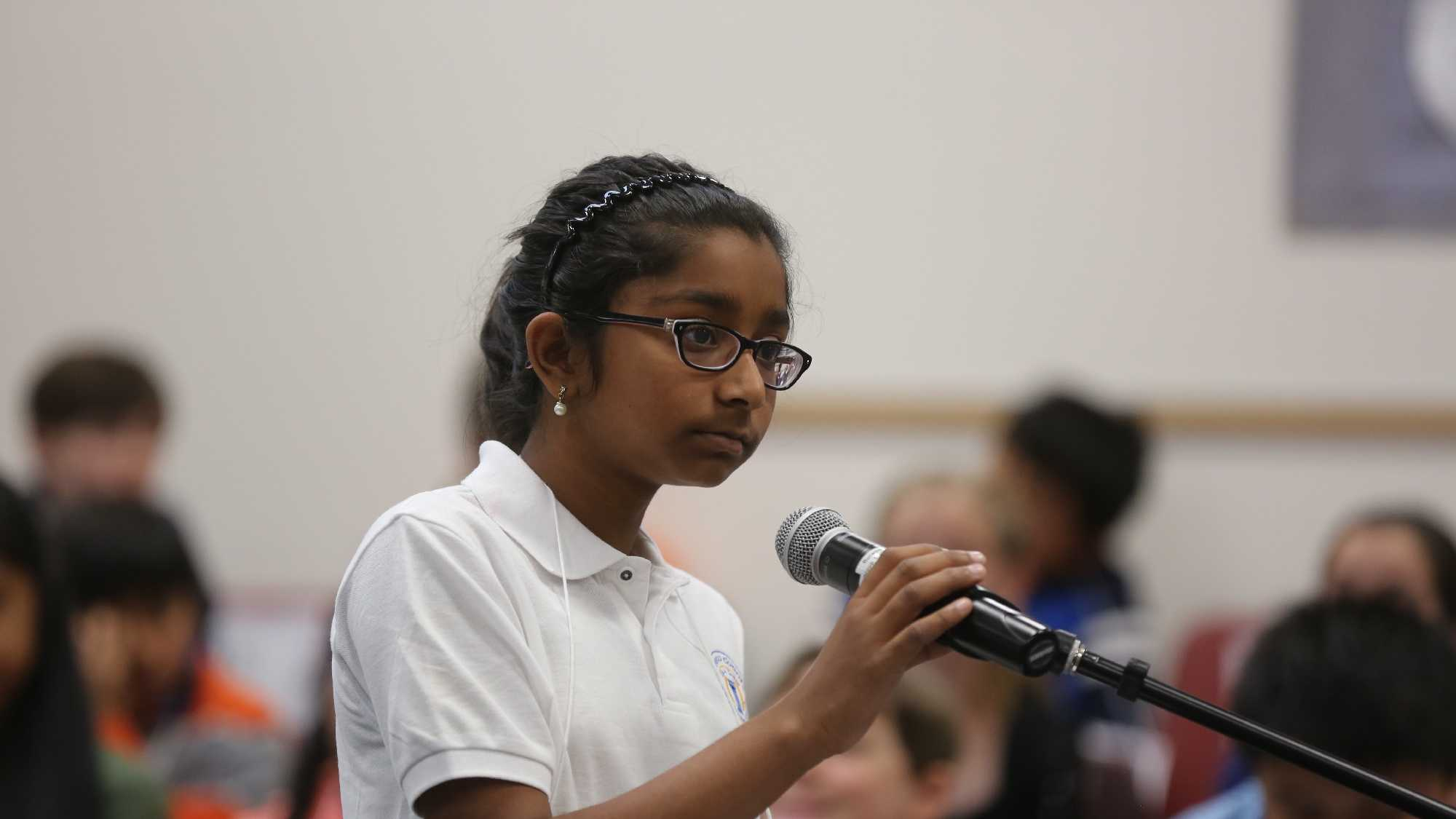 Ananya Vinay, 11, of Fresno County was named the 2016 California State Elementary Spelling Bee on Saturday, April 23, 2017.