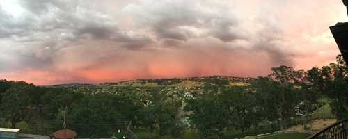 The sky continued to change colors throughout the night as seen over El Dorado Hills.