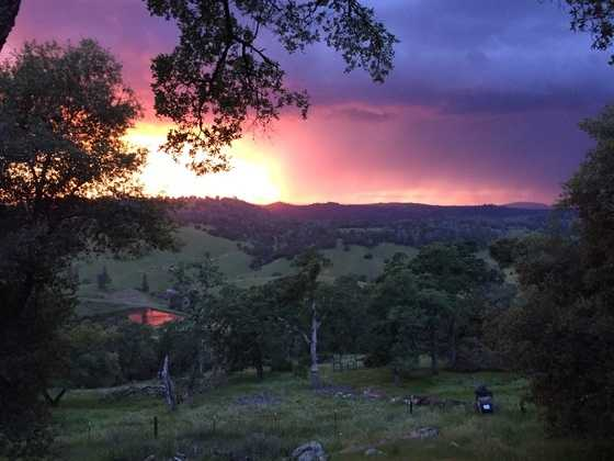 """This is a picture from the back deck of our home in El Dorado, CA. This was taken about 5 minutes before the storm hit us. It's a beautiful watching it move up the hill."""
