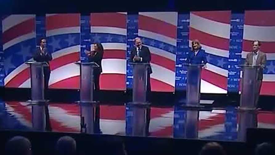 The top five California U.S. Senate candidates on the debate stage on Monday, April 25, 2016.