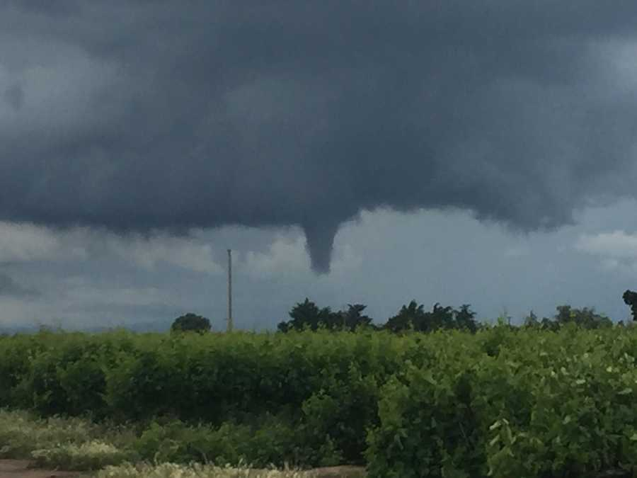 A potential funnel cloud east of Modesto.