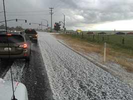 More hail seen along Jackson Road, heading to Rancho Murieta.