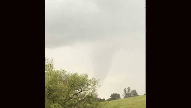 Funnel cloud seen west of Plymouth along Old Sacramento Road.