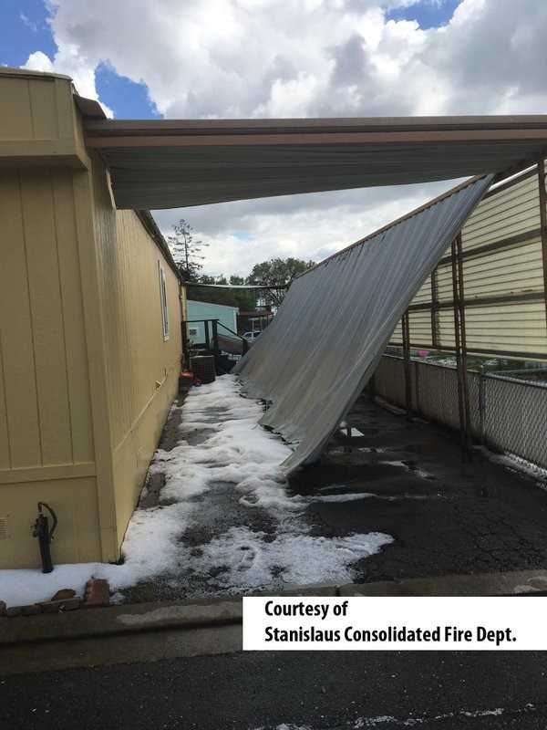 Hail damage in the Valley Home area from the storm in Stanislaus County.