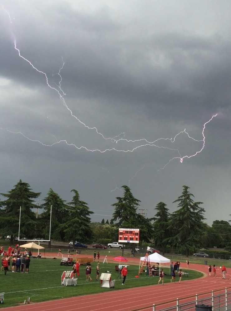 Lightning seen at Bella Vista High School track meet in Fair Oaks.