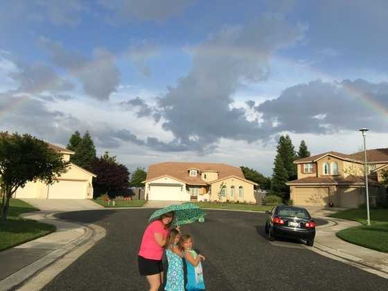 Here are 32 photos submitted to KCRA 3 of storms that moved over Northern California and the aftermath on Wednesday, April 27, 2016. View of a rainbow over a Natomas neighborhood.