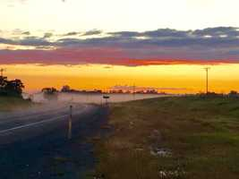 Sunset fog off Jackson and Golden Chain Highway in Amador County.