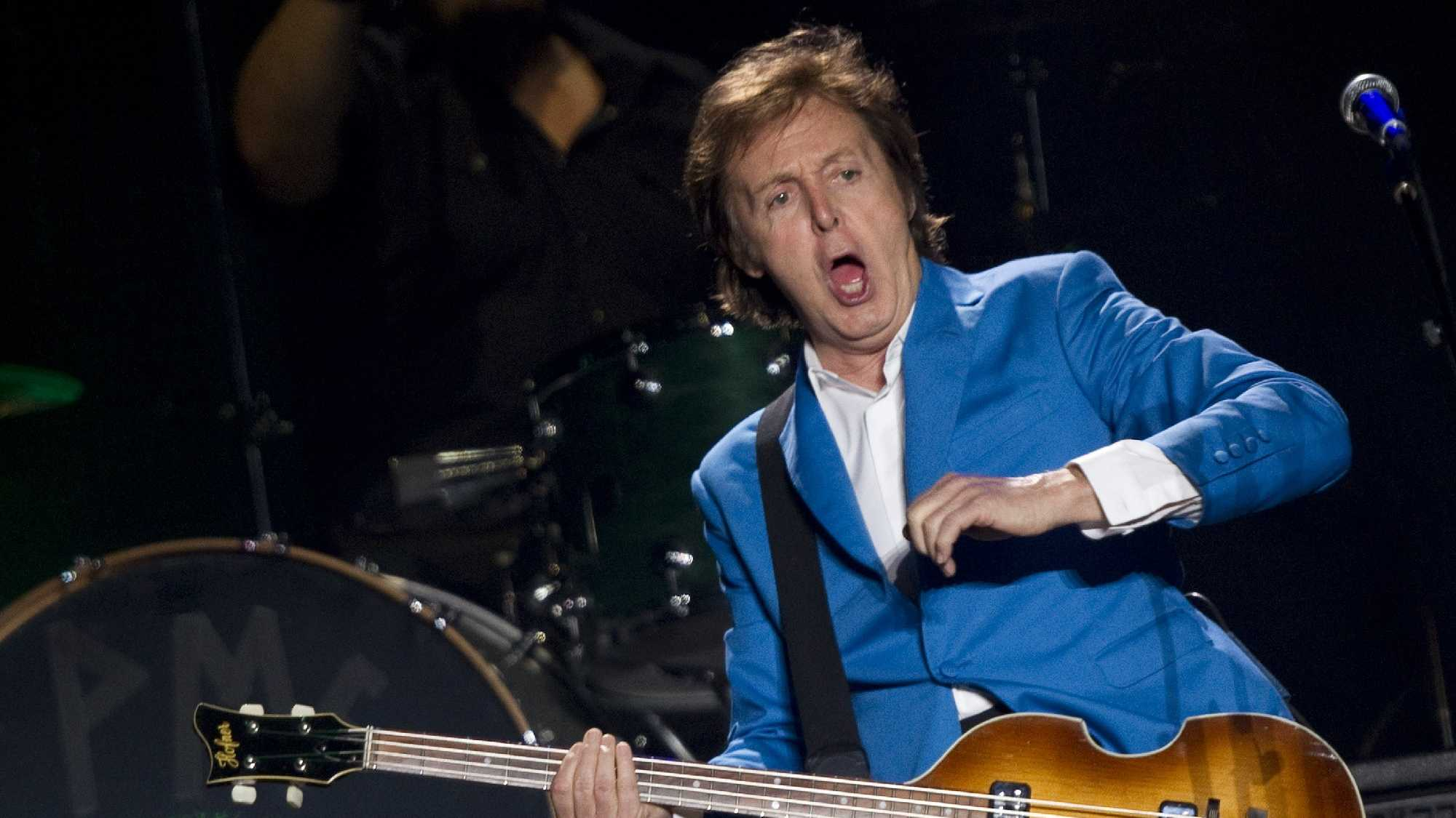 "British musician Paul McCartney performs during his ""Up And Coming Tour"" at the Morumbi stadium in Sao Paulo, Brazil, Sunday, Nov. 21, 2010."
