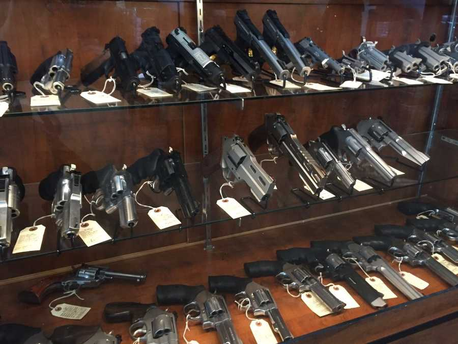 Examples of handguns stolen by the thieves, many of which retail for more than $1,000.