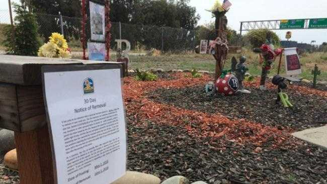 The city of Vacaville posted 30-day notices at roadside memorials on Tuesday, May 3, 2016, asking people to take down the memorial or it will be taken down.