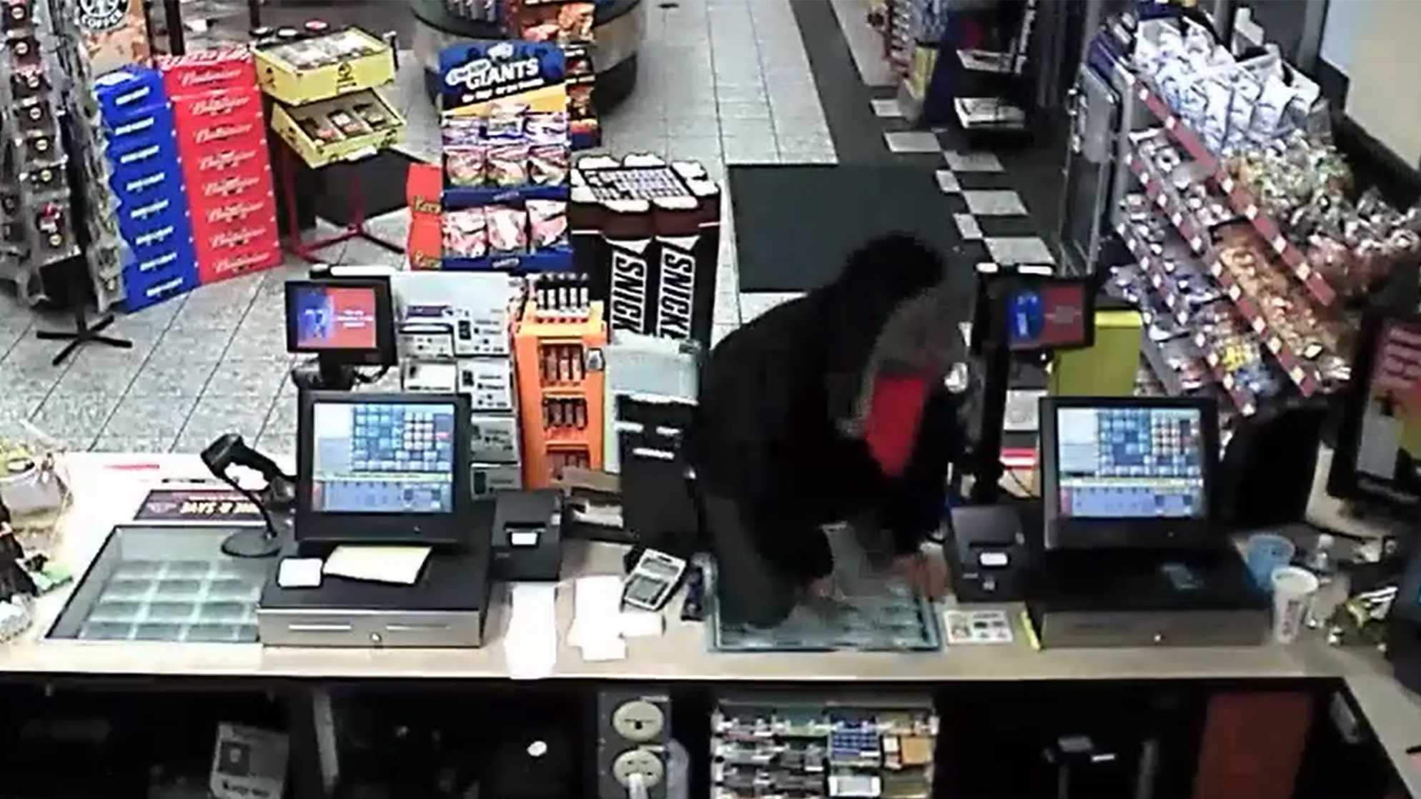 A brazen robber wielded a knife at a Riverbank gas station, jumping over the counter and demanded money from the clerk on Sunday. (May 03, 2016)