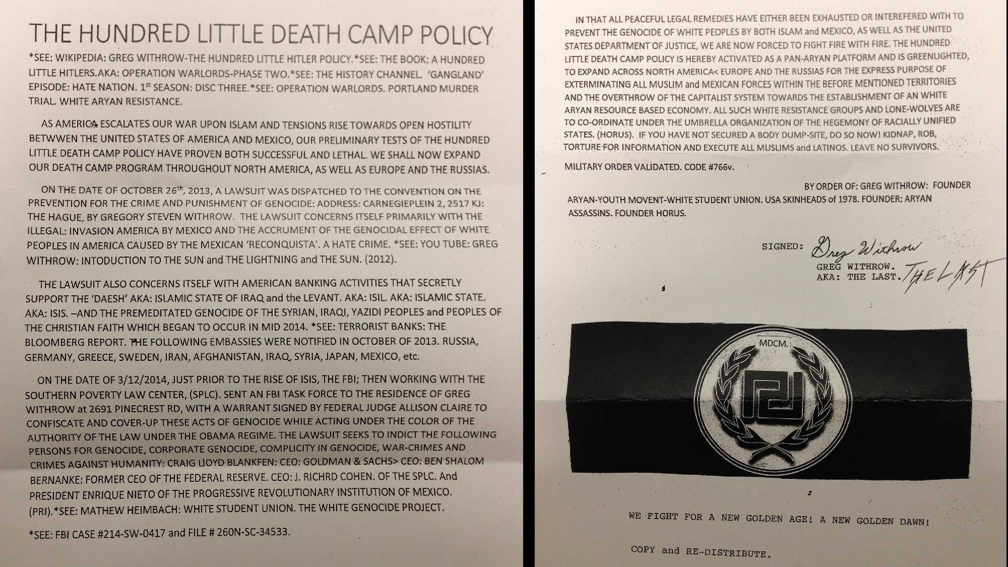 The Sacramento Police Department is investigating the source of fliers propagating a Nazi agenda found on vehicles Tuesday in midtown.