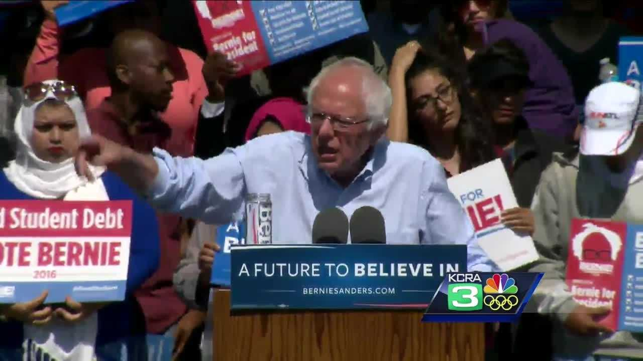 Presidential Democratic candidate Bernie Sanders speaks Tuesday in Stockton.