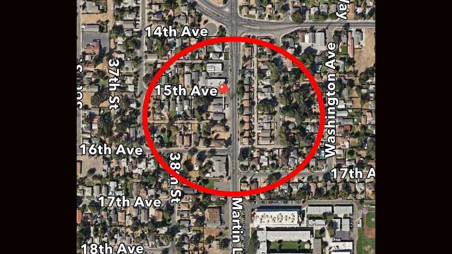 Map of the police perimeter on Martin Luther King, Jr. Boulevard on Saturday.