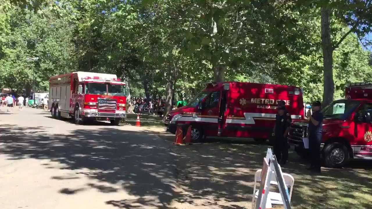 Sacramento Metro and Sacramento City fire crews responded to Discovery Park Sunday, May 15, 2016, after a food booth caught fire.