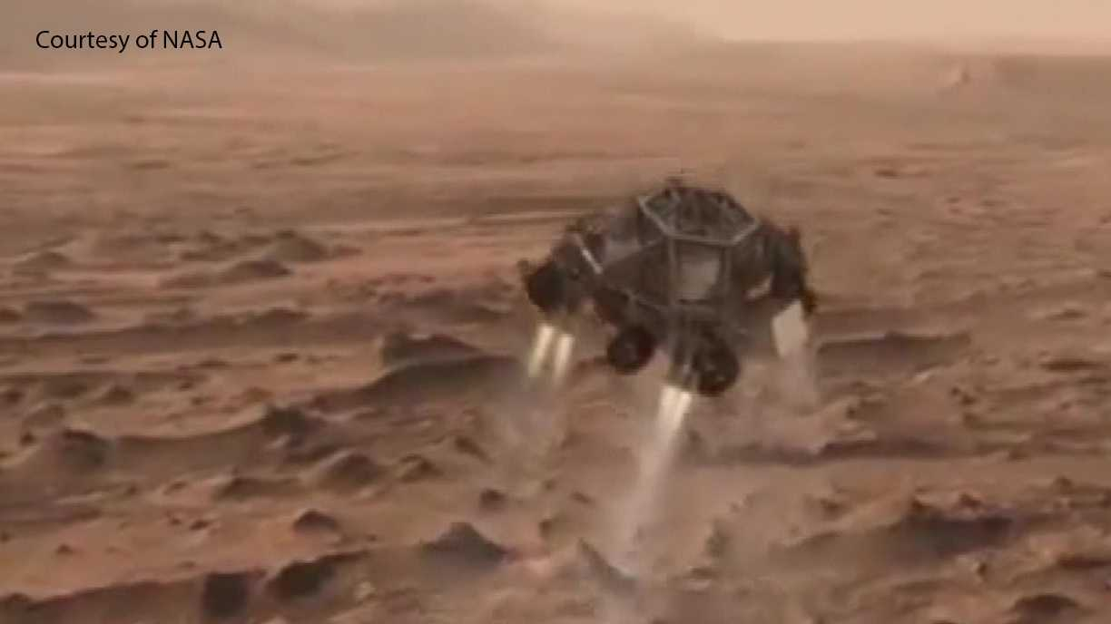 NASA images shows how a Mars rover would land on the red planet.
