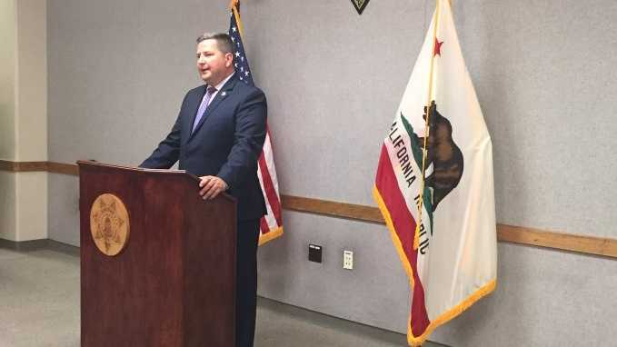 Sacramento County Sheriff Scott Jones speaks during a news conference on Thursday, May 19, 2016, as he responds to a multi-million dollar verdict in a sexual discrimination case against the sheriff's department.