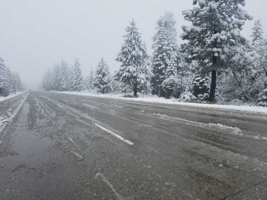 Snow in the Sierra along Interstate 80 in Drum Forebay on Friday, May 20, 2016.