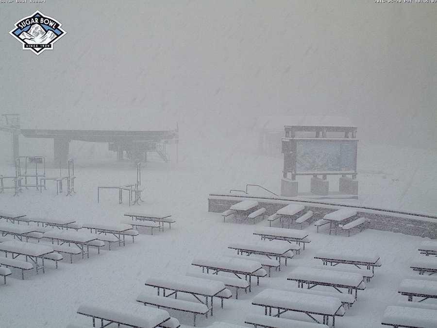 Snow falls at Sugar Bowl ski resort on Friday, May 20, 2016.