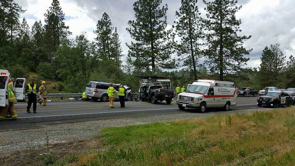 Three-vehicle crash, where two vehicles hit each other head-on on southbound Highway 49 in Nevada County.