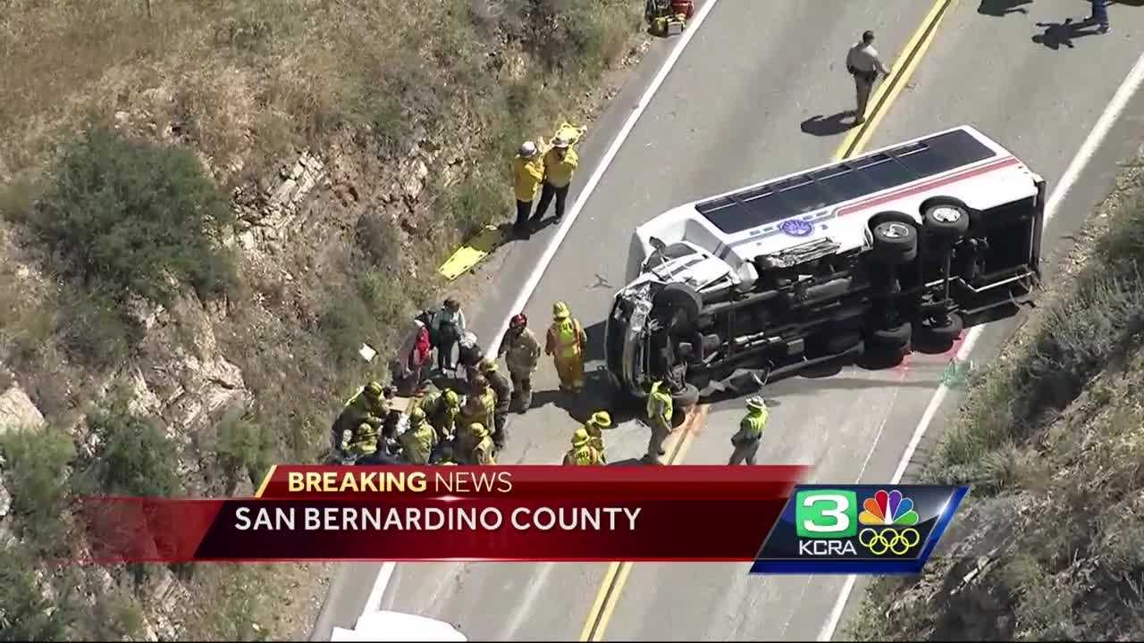 California bus crash leaves dozens injured and two critically injured.