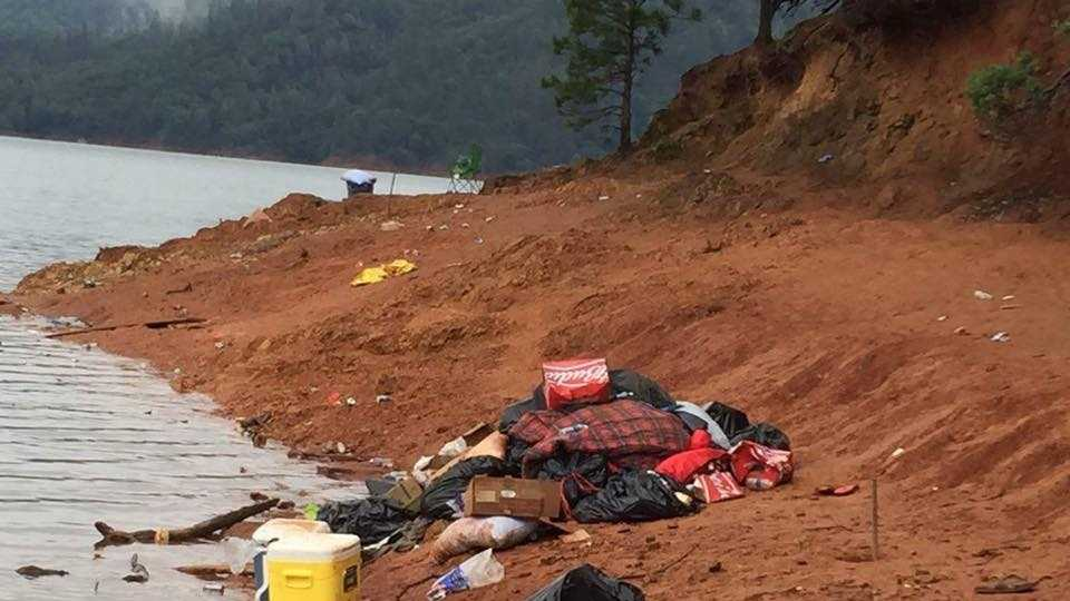 Photo posted on Facebook on Monday, May 22, 2016, shows trash left behind on Slaughterhouse Island on Lake Shasta.