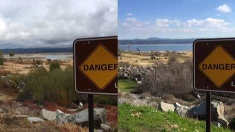 The same view of Folsom Lake at Beals Points taken on November 2, January 26, March 7 and May 24.